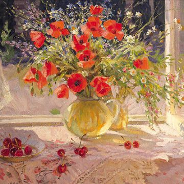 "BLANK CARD "" POPPIES BY THE WINDOW"" LARGE SQUARE SIZE 6.25"" x 6.25"" BLHI 2022"